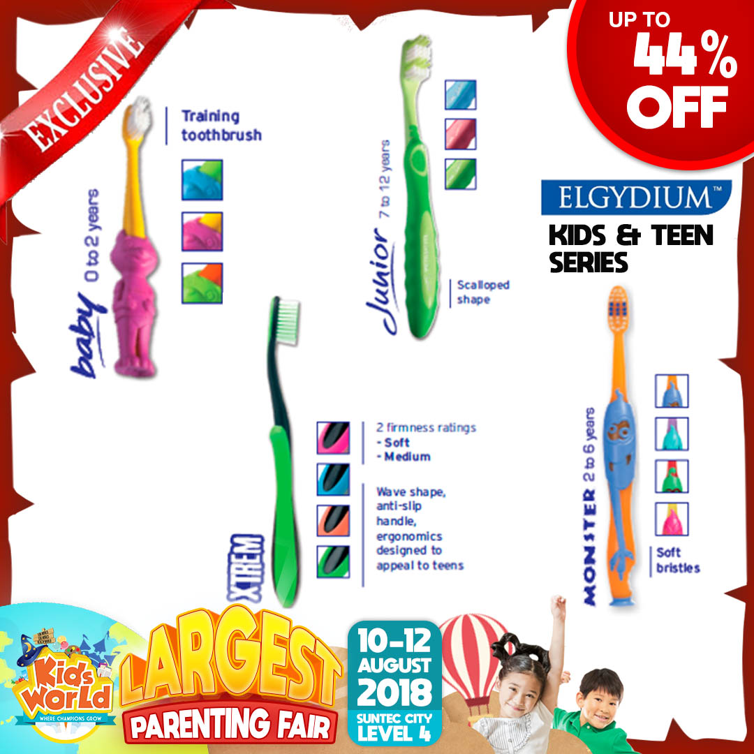 Elgydium Toothbrush For Kids & Teens + FREE Travel Sized Toothpaste